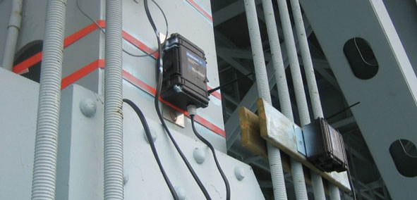 Wireless monitors on the Goldstar Bridge in Connecticut
