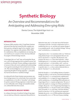 Synthetic biology report
