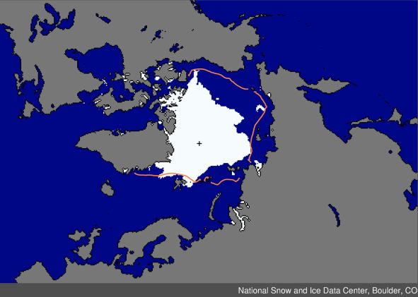 map showing extent of artic sea ice melt