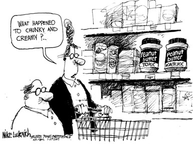 Mike Luckovich cartoon: people in supermarket with peanut butter jars labeled toxic and non-toxic
