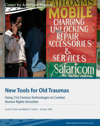 cover of report: New Tools for Old Traumas, with man standing at Kenyan mobile phone shop